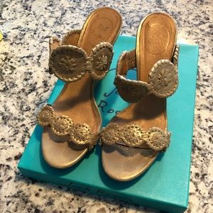 Jack Rogers Luccia Stardust wedges in Gold
